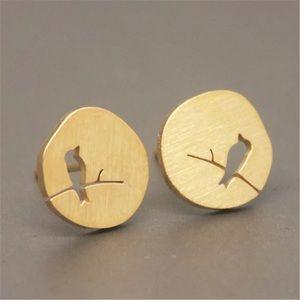 """Tweet"" Bird Plate Minimalist Simple Stud Earrings"